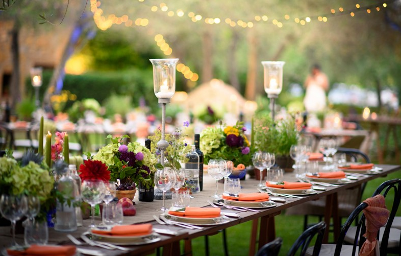 wedding table setting in a villa in tuscany
