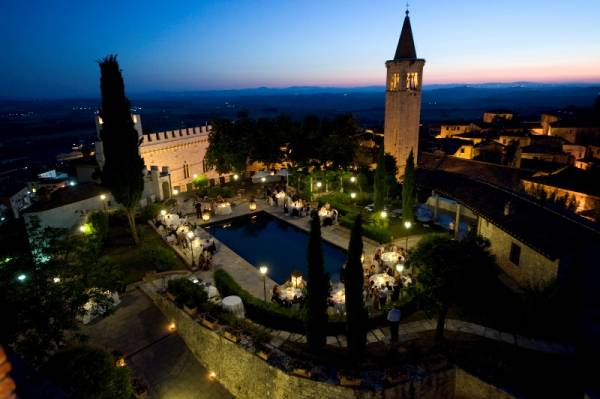 night view of a wedding castle in siena
