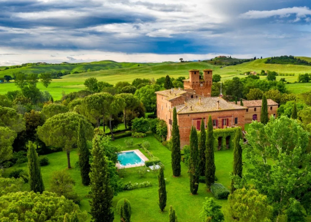 aerial view of a castle in siena