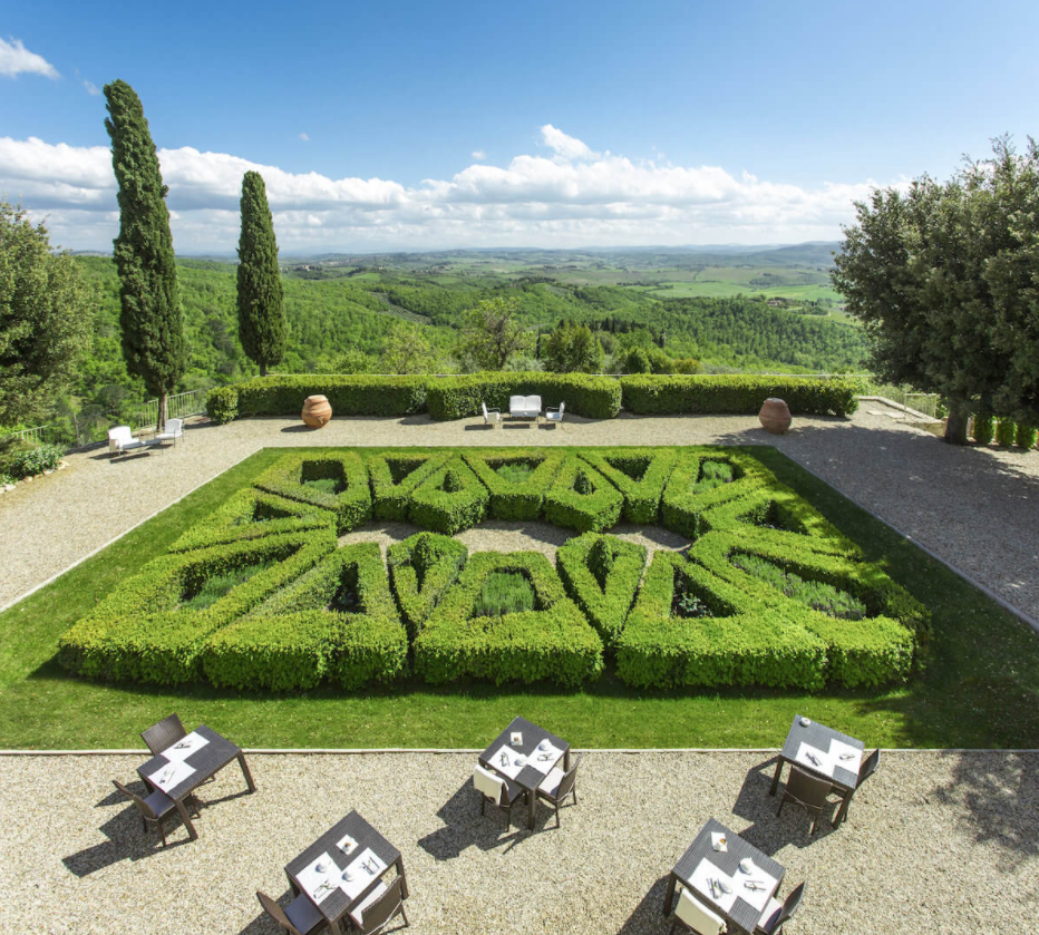 terrace view in a castle for weddings