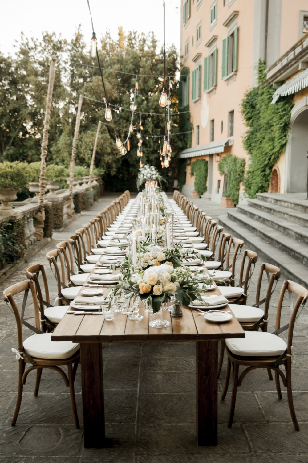 table setting in a charming wedding villa