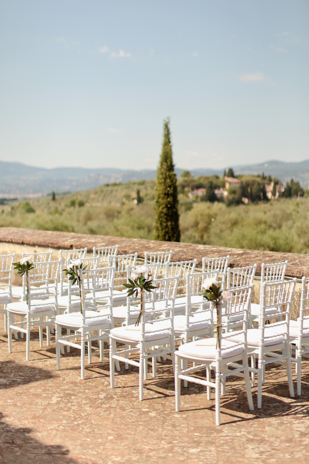 country chic real wedding ceremony chairs in tuscany