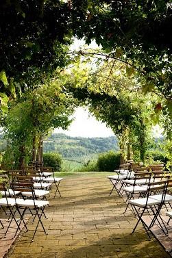 destination wedding chianti ceremony setting with view