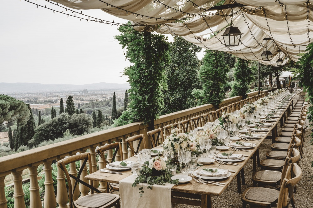 destination wedding luxury private villa in florence table setting with view over the city