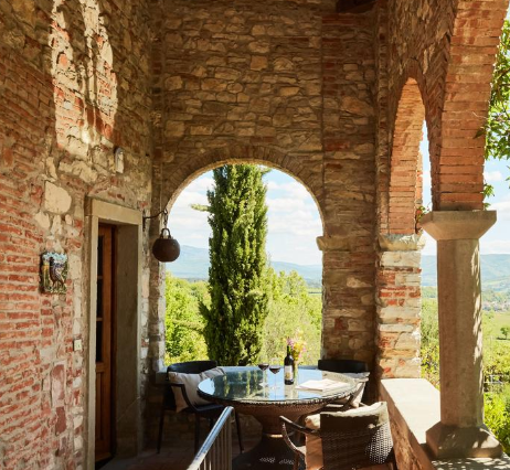breakfast under a loggia in an ancient building for wedding in tuscany
