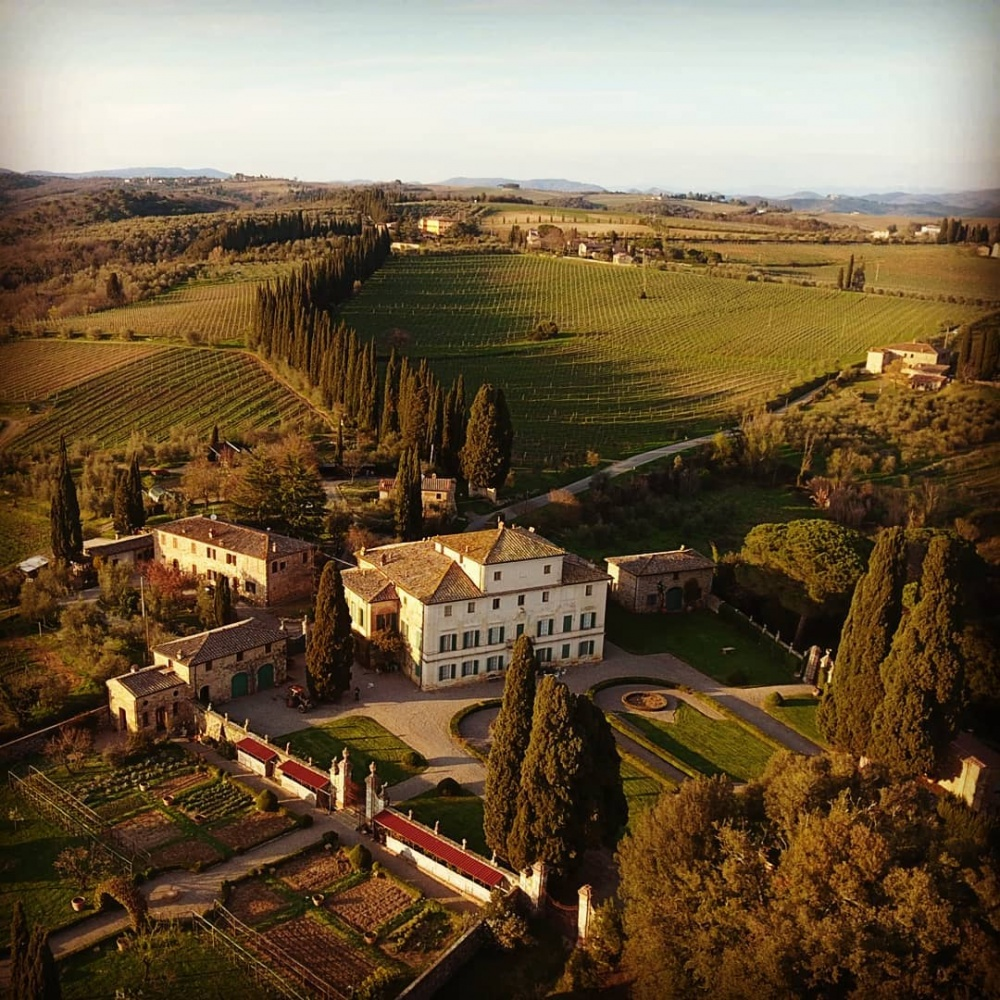 drone view elegant wedding villa in Siena