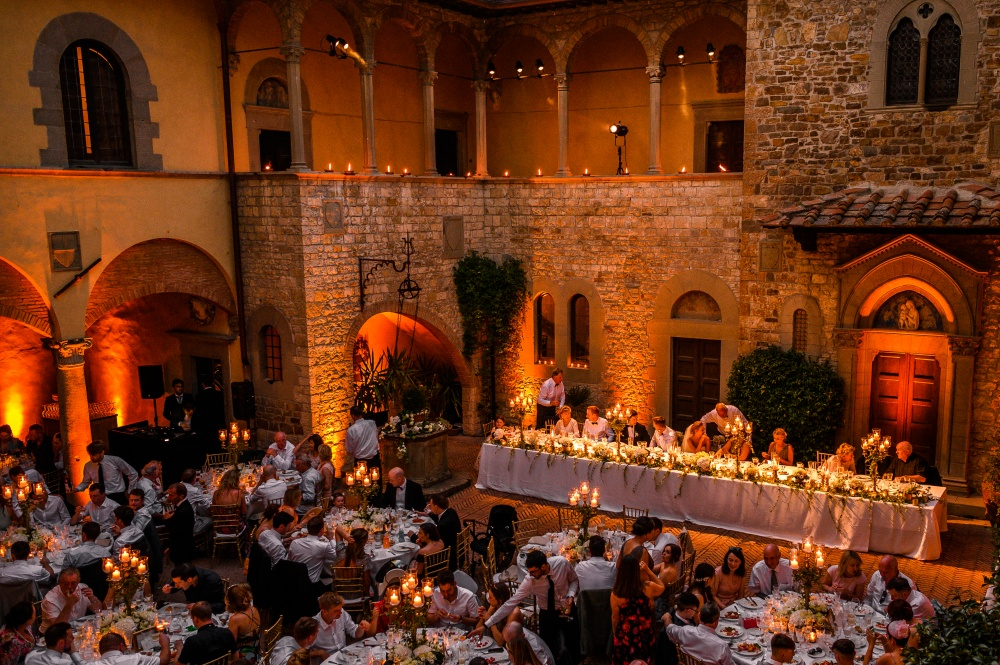 getting married in the courtyard of a castle