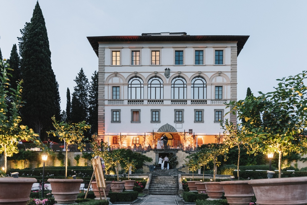 entrance of a luxurious wedding hotel in florence