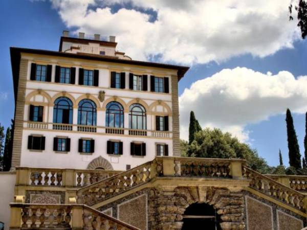 front and terrace view of a hotel in florence