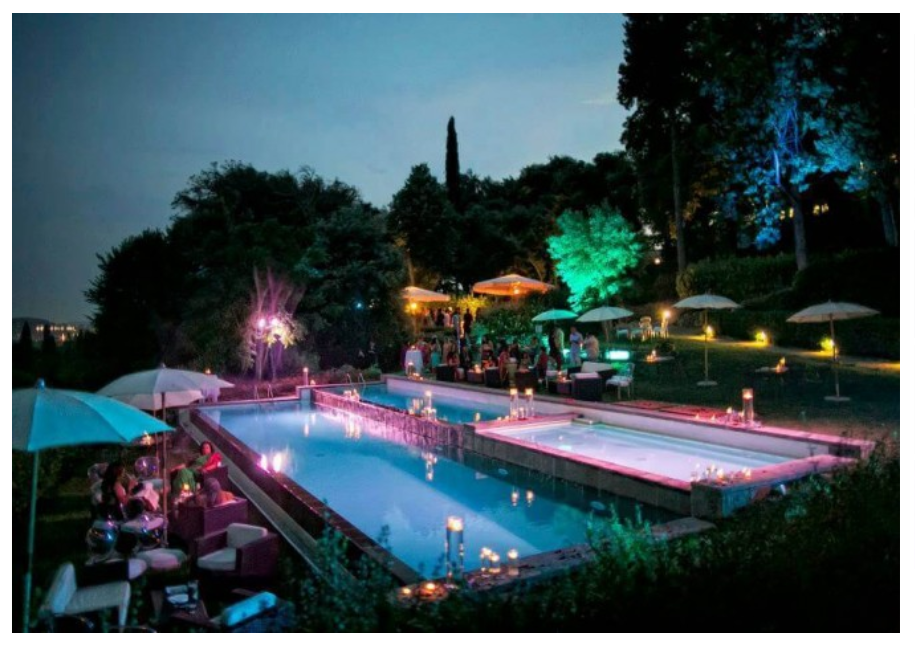 pool night view in a wedding hotel in florence