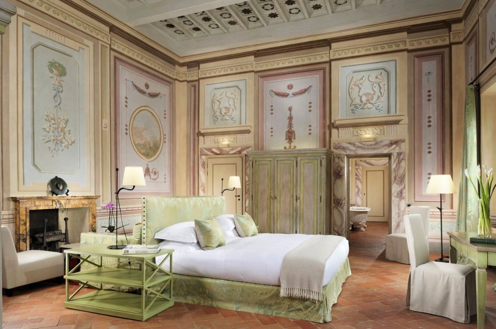 indoor room for wedding reception in a luxury castle in chianti tuscany