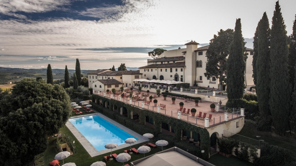 property view of a luxury castle for weddings in chianti tuscany