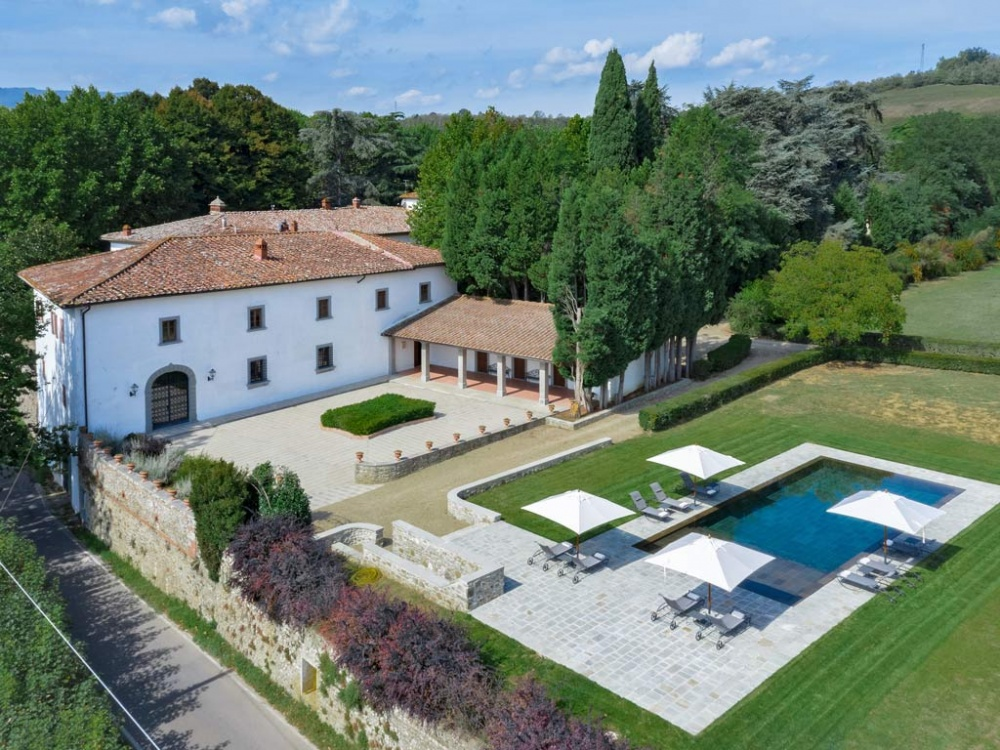 aerial view of a wedding resort in the tuscan countryside