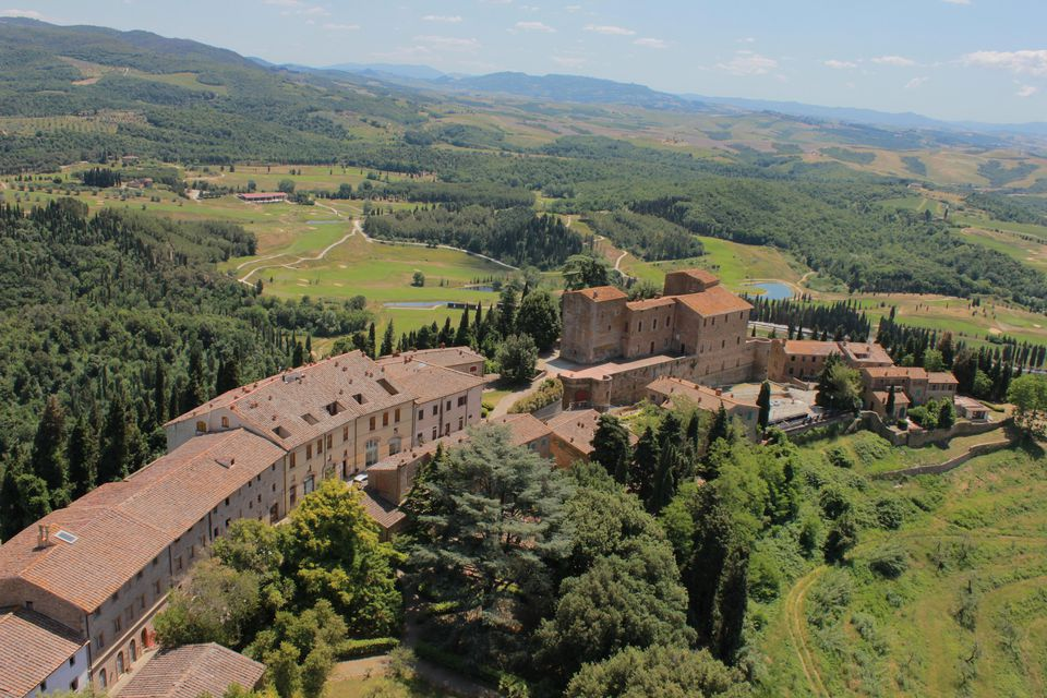 aerial view of a wedding resort in tuscany