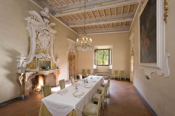 indoor space for wedding reception in a medieval castle in chianti tuscany
