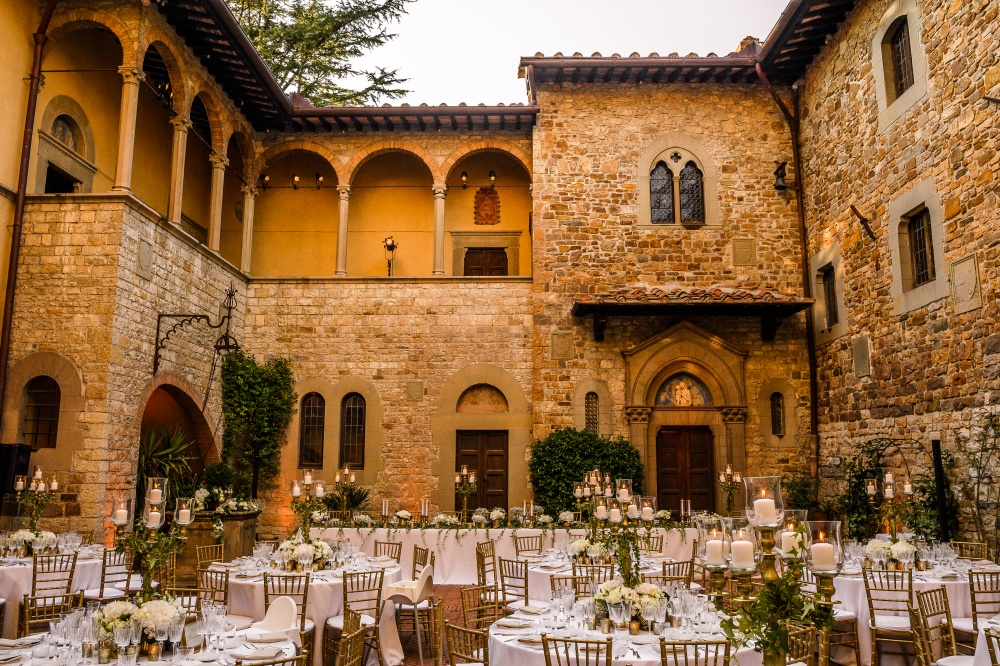 courtyard for weddings in a medieval castle in chianti tuscany