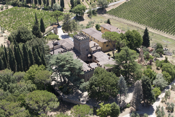 aerial view of a medieval castle for weddings in chianti tuscany