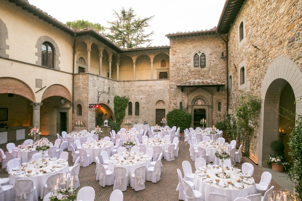wedding dinner reception in a castle in chianti tuscany