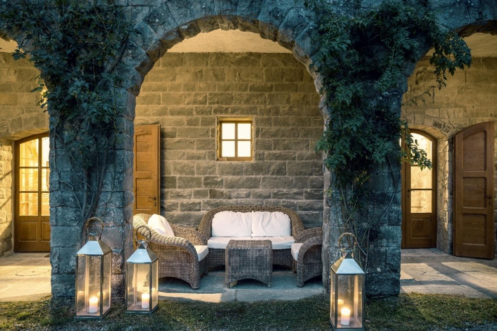 old loggia building for relax in a hamlet in tuscany