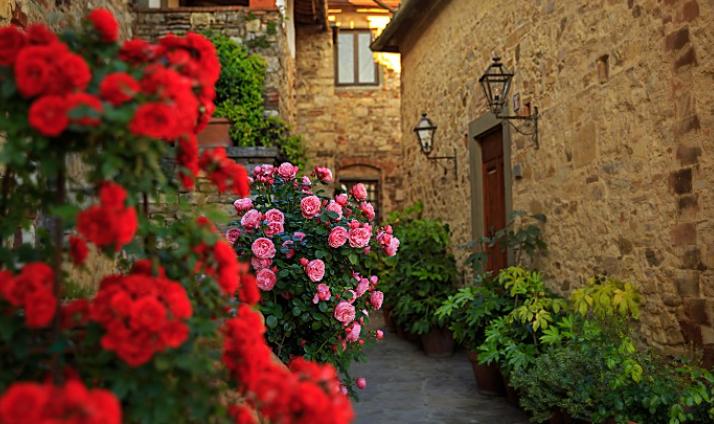 romantic flowers in a wedding farmhouse