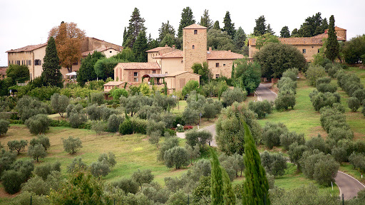 aerial view of a romantic wedding venue in tuscany