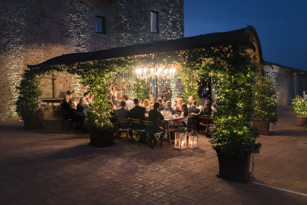 night view of a loggia for romantic wedding