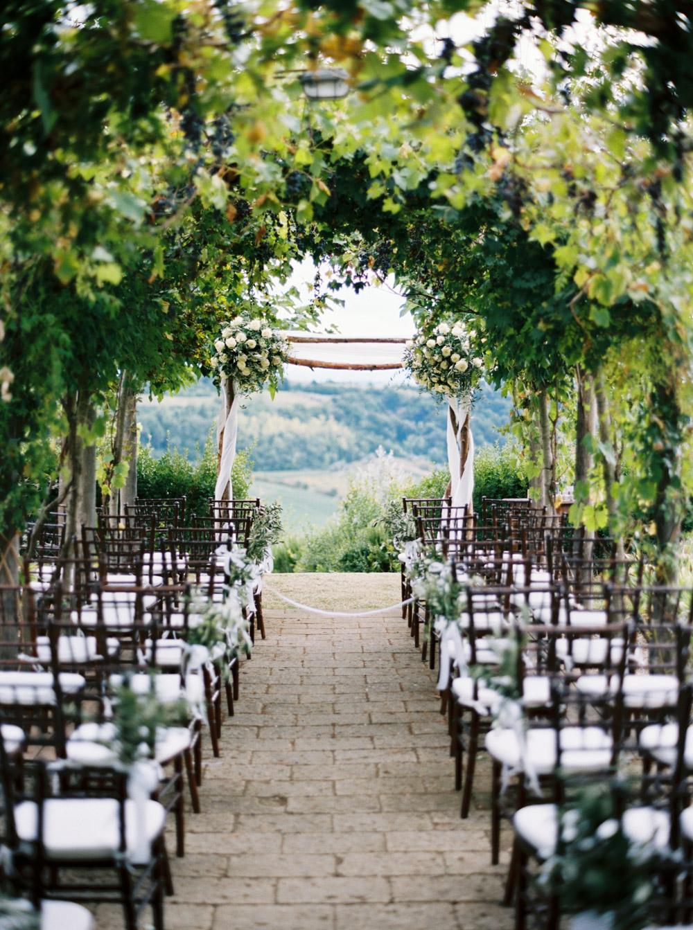 ceremony setting in a romantic wedding venue