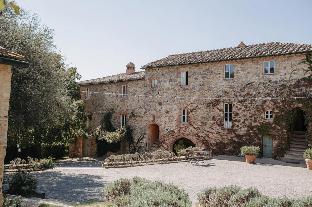 rustic square view in a romatic villa in siena