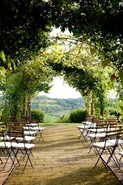 ceremony view in a hamlet for wedding in tuscany