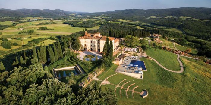 aerial view of a wedding resort in san gimignano