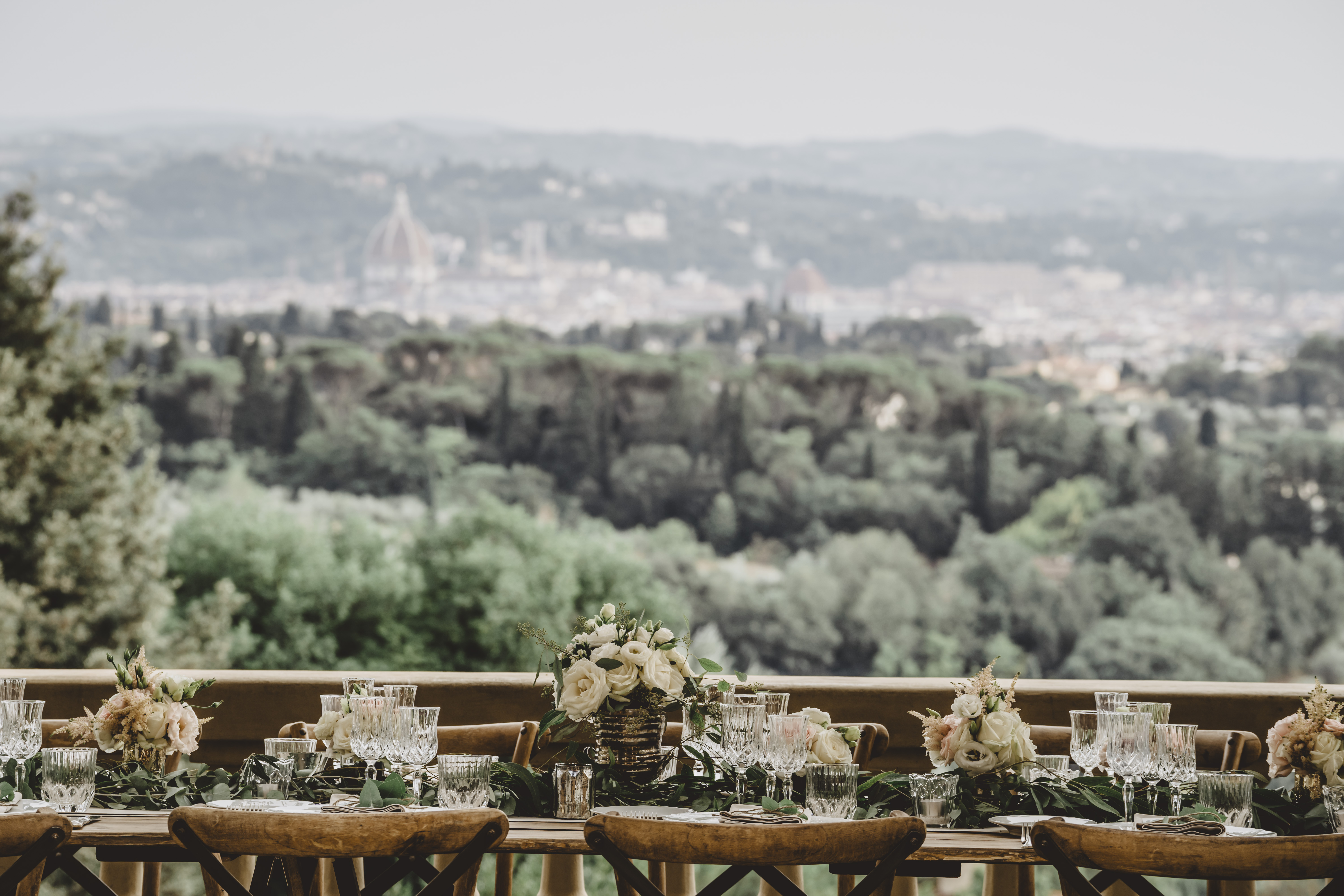 panoramic view from the terrace of the wedding villa nestled in the Tuscan hills