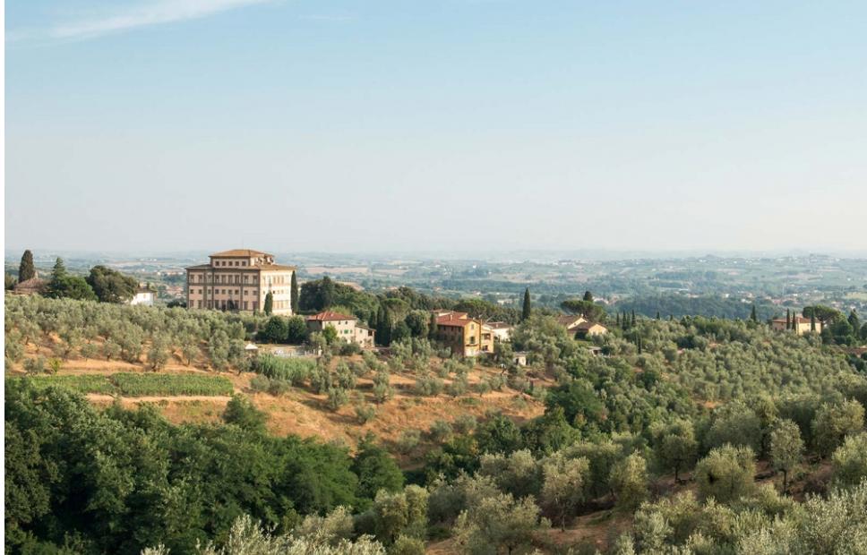 aerial view of a tuscan wedding villa