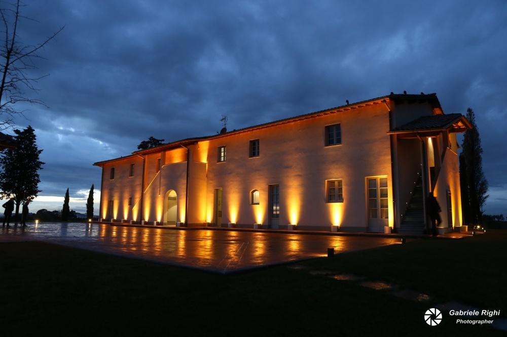 facade night view of a villa for weddings