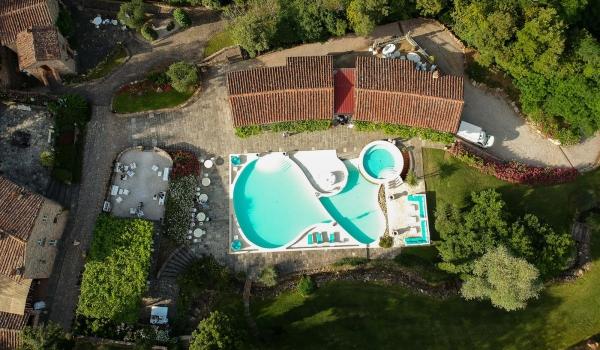 tuscany wedding hamlet aerial view