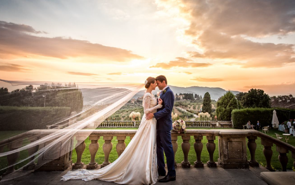 tuscan wedding location villa with terrace overlooking the landscape