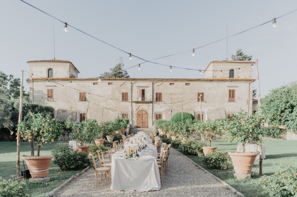 tuscany wedding rustic villa location view of the main facade and the gardens