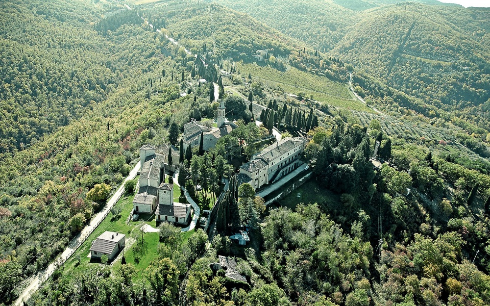 venues for weddings in tuscany aerial view of the property and its gardens