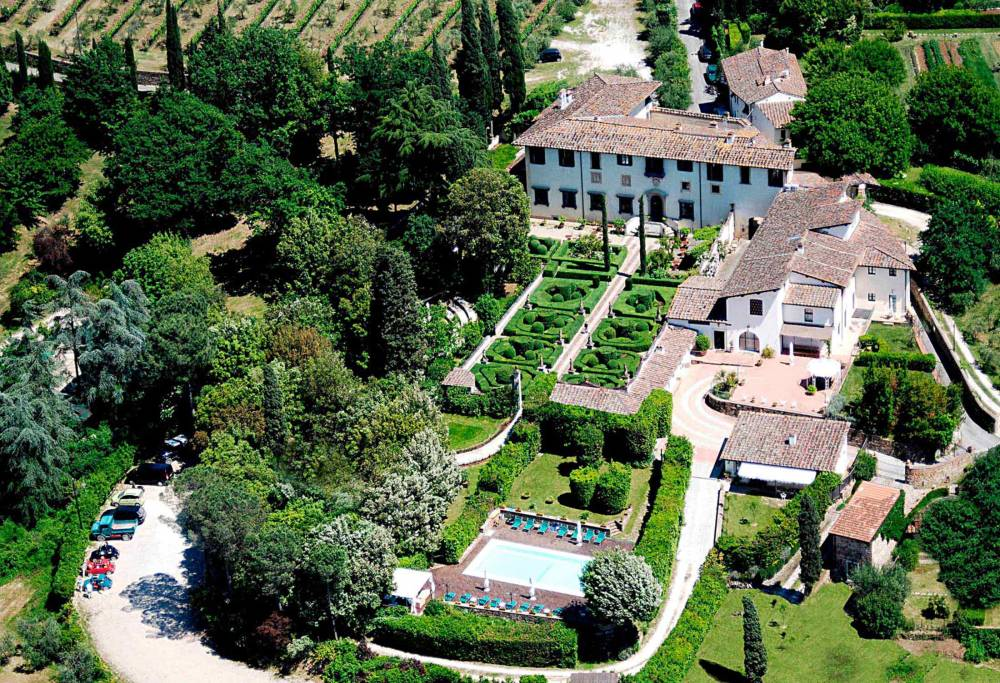 aerial view of a villa for wedding