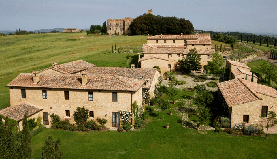 aerial vie of a villa for weddings