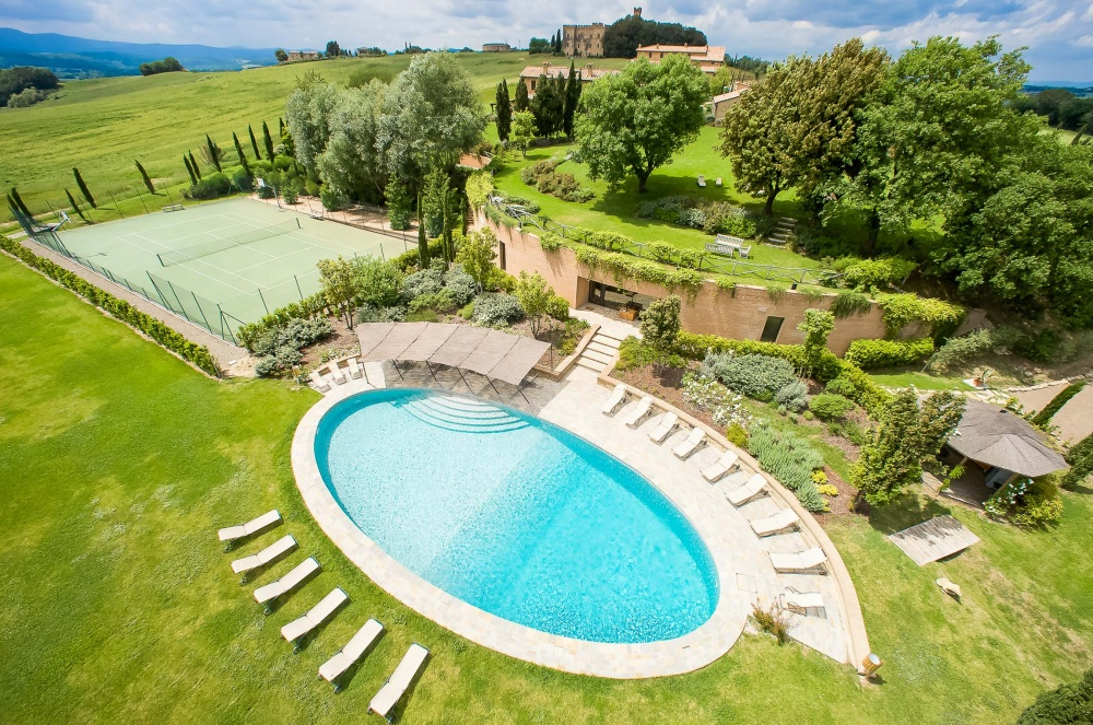 pool in a villa in tuscany