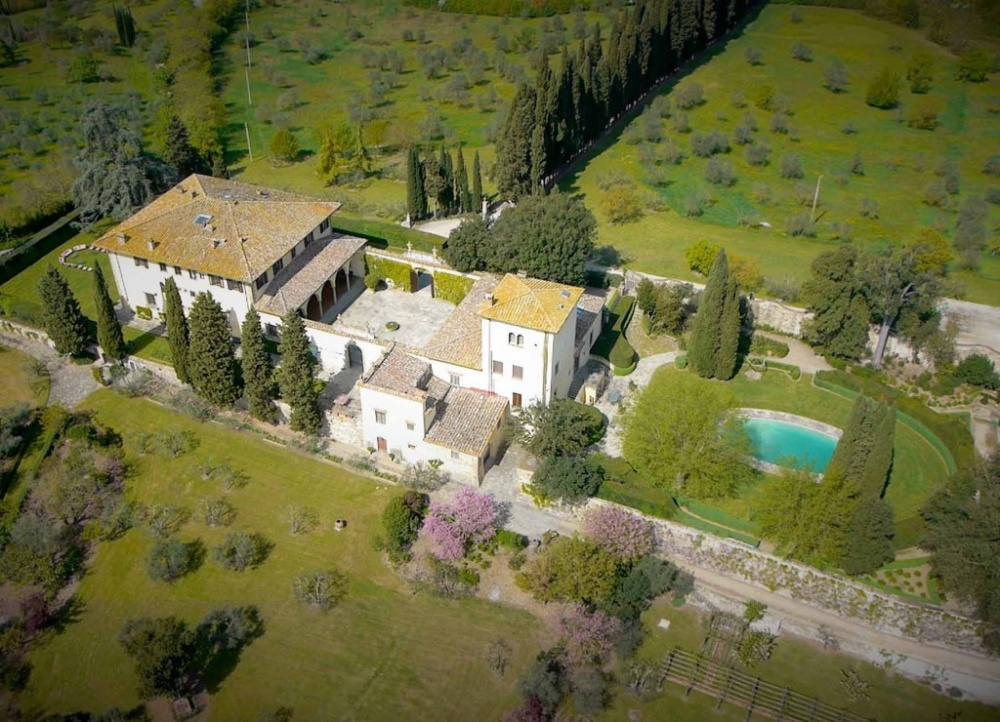 aerial view of a villa in florence