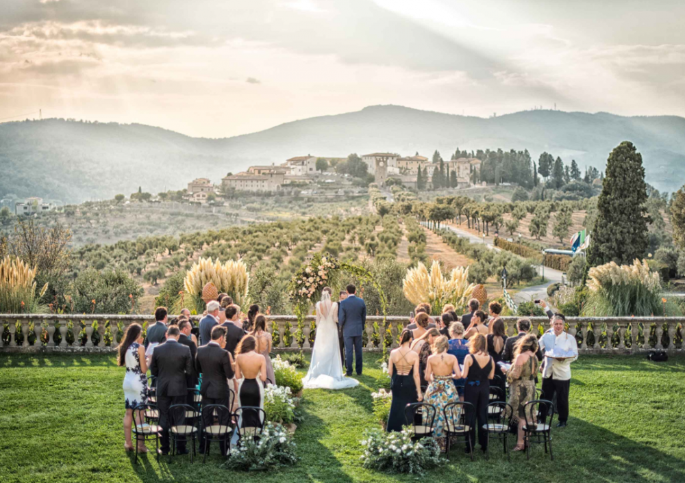 wedding ceremony on the terrace of a villa medicea in tuscany