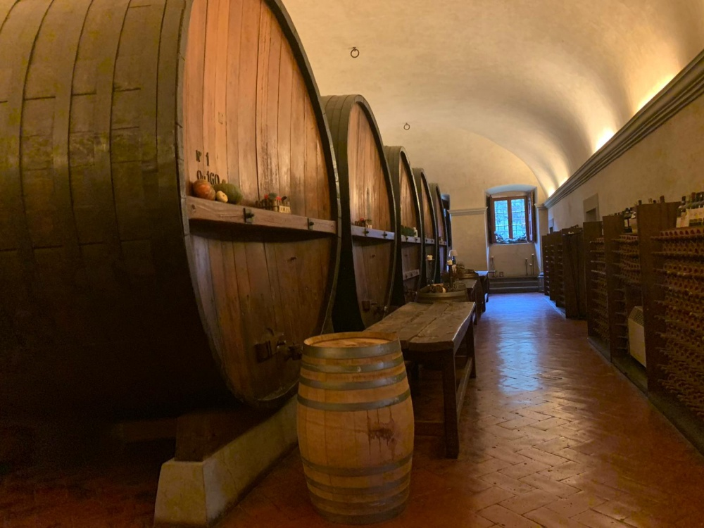 barrels in the cellar of a villa medicea for weddings in tuscany