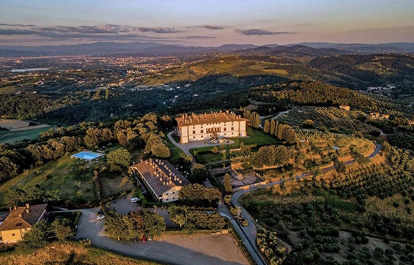 villa medicea in tuscany aerial view