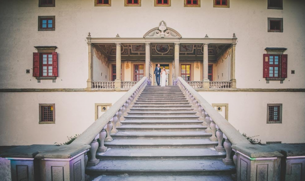 villa medicea in tuscany with stairs