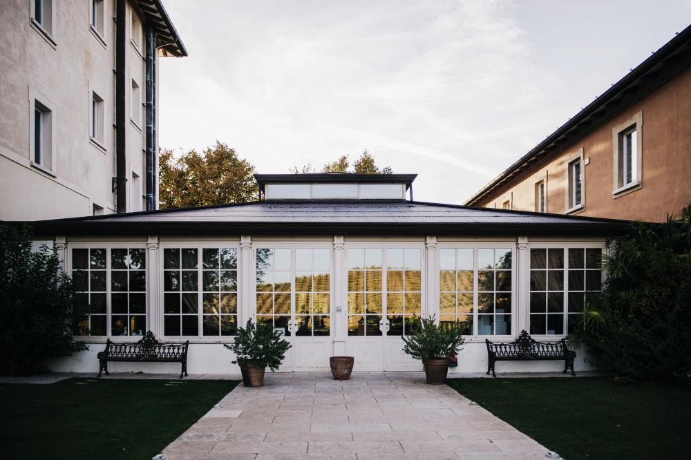 glass window viwn in a wedding villa