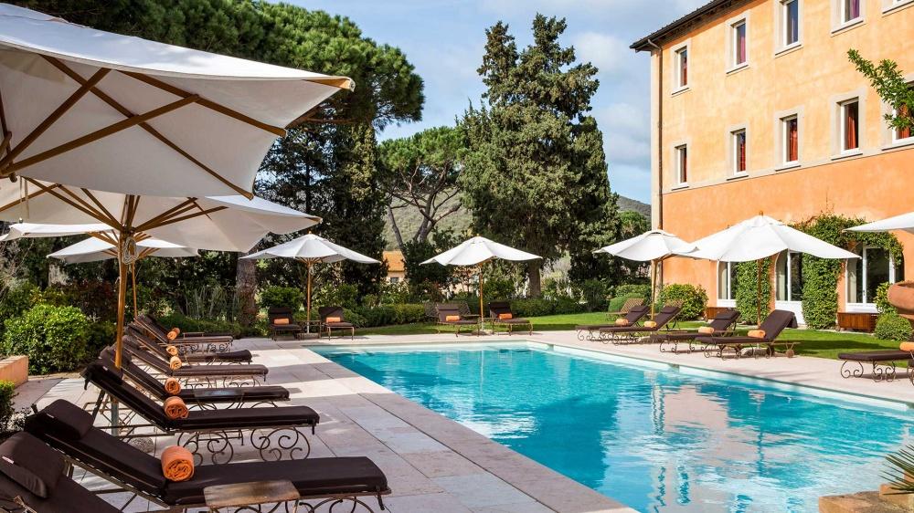 pool area in a wedding villa