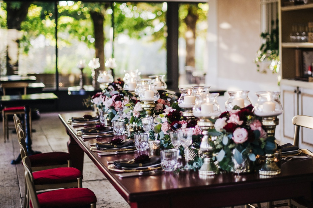 table setting in a villa for weddings