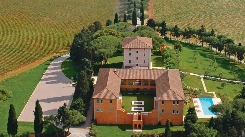 aerial view of a wedding villa
