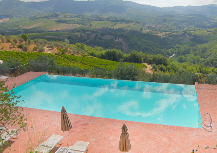 wedding castle with pool in chianti